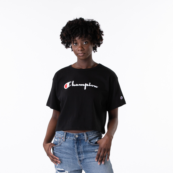alternate view Womens Champion Heritage Cropped Boyfriend Tee - BlackALT1