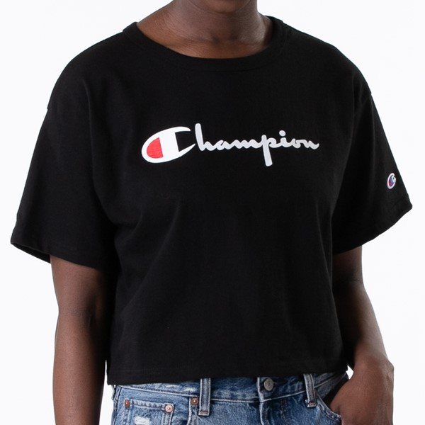 alternate view Womens Champion Heritage Cropped Boyfriend Tee - BlackALT1B