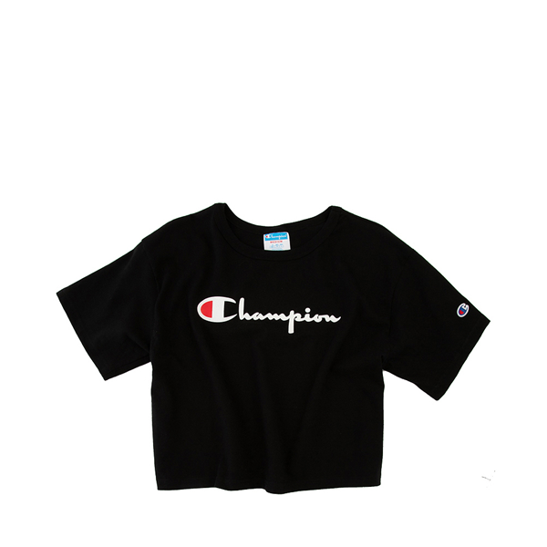 alternate view Womens Champion Heritage Cropped Boyfriend Tee - BlackALT2