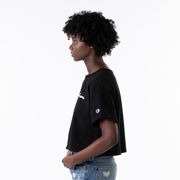 alternate view Womens Champion Heritage Cropped Boyfriend Tee - BlackALT3