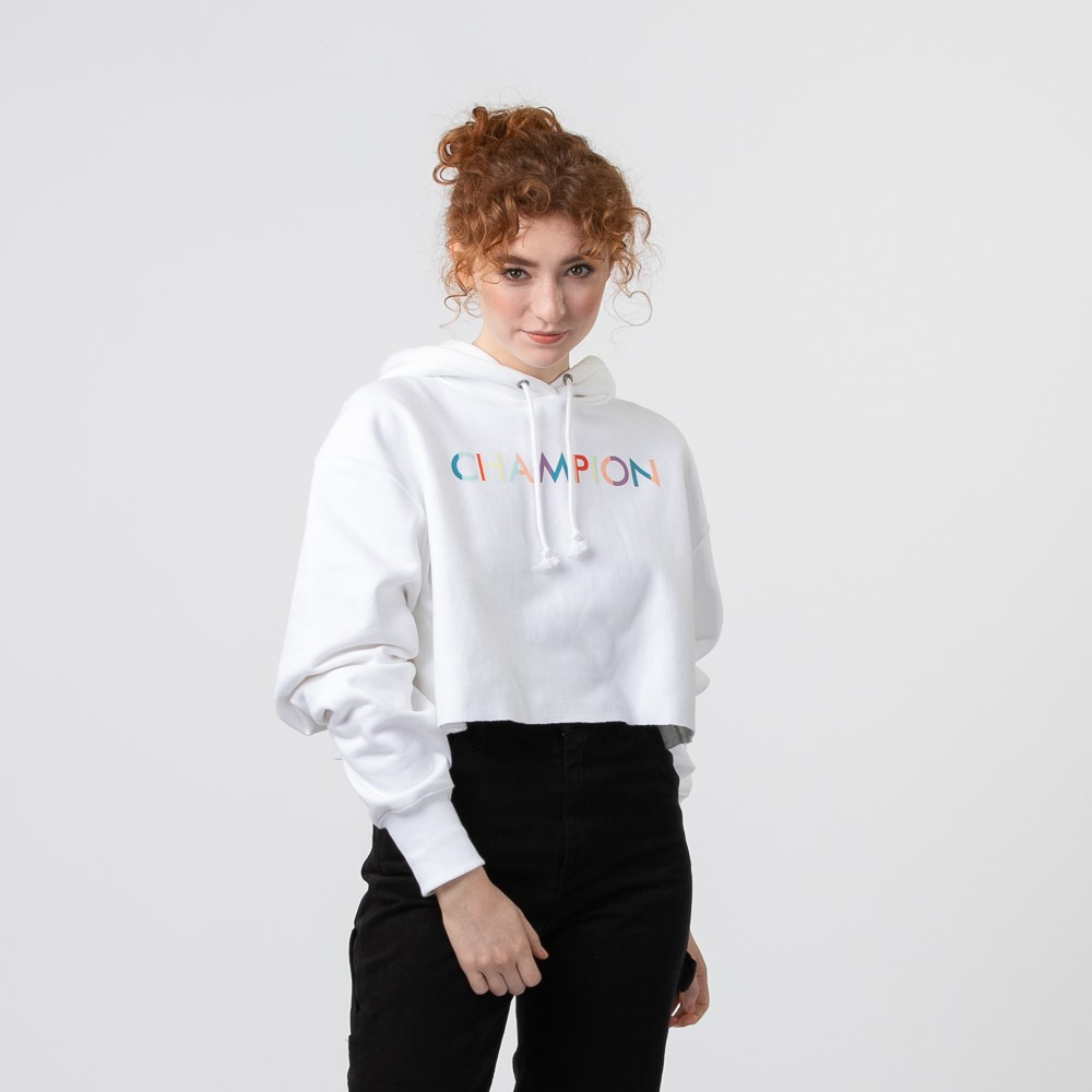 Womens Champion Reverse Weave Cropped Hoodie - White
