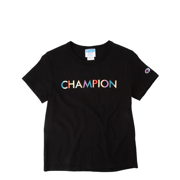 Womens Champion Block Logo Girlfriend Tee - Black