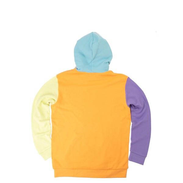 alternate view Mens adidas Blocked Trefoil Hoodie - Hazy Orange / Light Purple / Yellow TintALT1