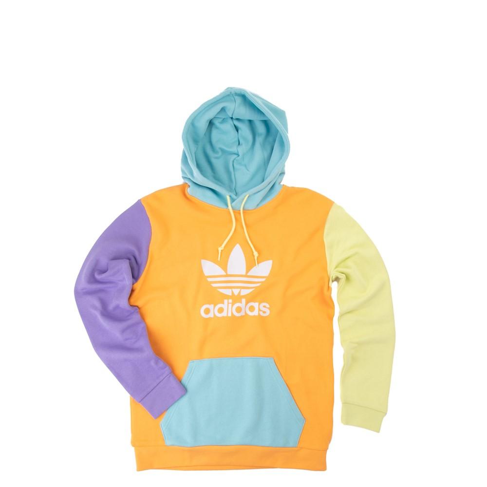 Mens adidas Blocked Trefoil Hoodie - Hazy Orange / Light Purple / Yellow Tint