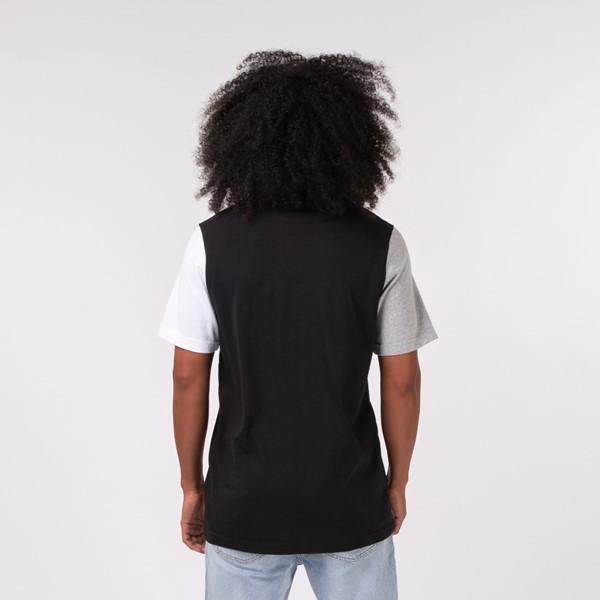 alternate view Mens adidas Blocked Trefoil Tee - Black / White / Heather GrayALT1