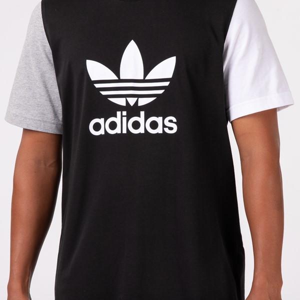 alternate view Mens adidas Blocked Trefoil Tee - Black / White / Heather GrayALT1B