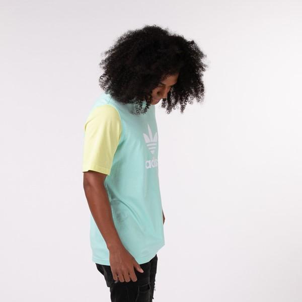 alternate view Mens adidas Blocked Trefoil Tee - Clear Mint / Yellow Tint / Hazy SkyALT2