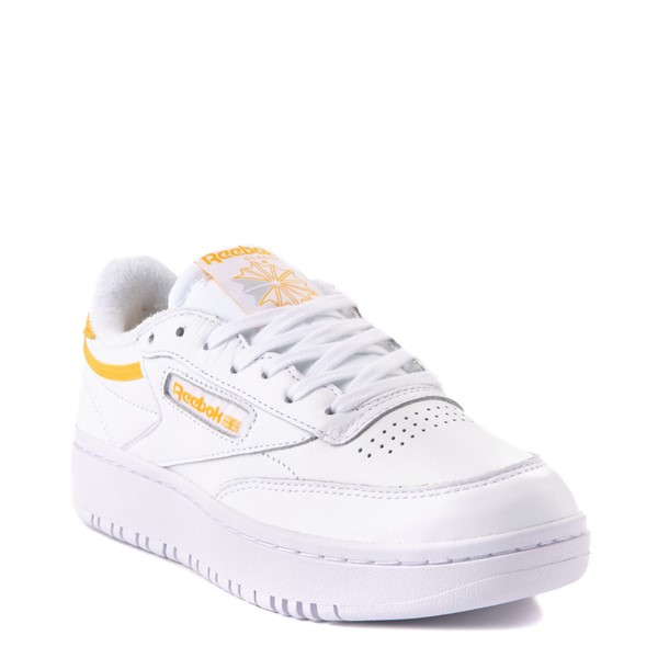 alternate view Womens Reebok Club C Double Athletic Shoe - White / GoldALT1