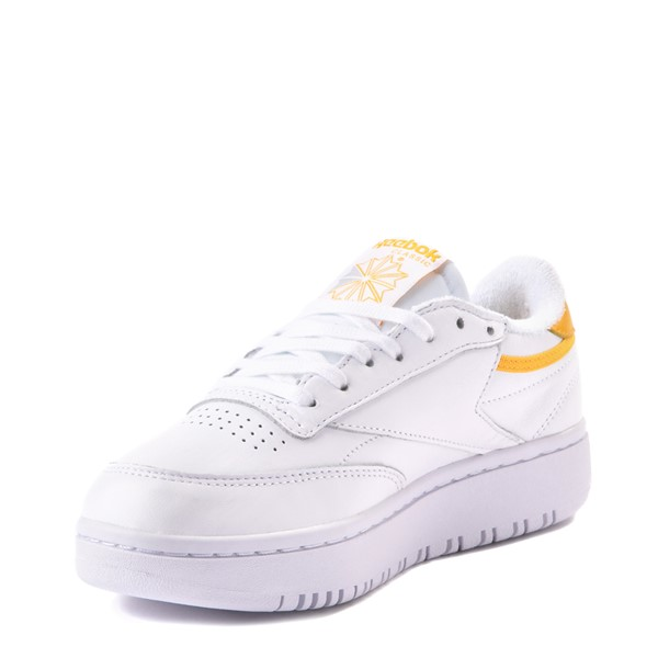 alternate view Womens Reebok Club C Double Athletic Shoe - White / GoldALT3