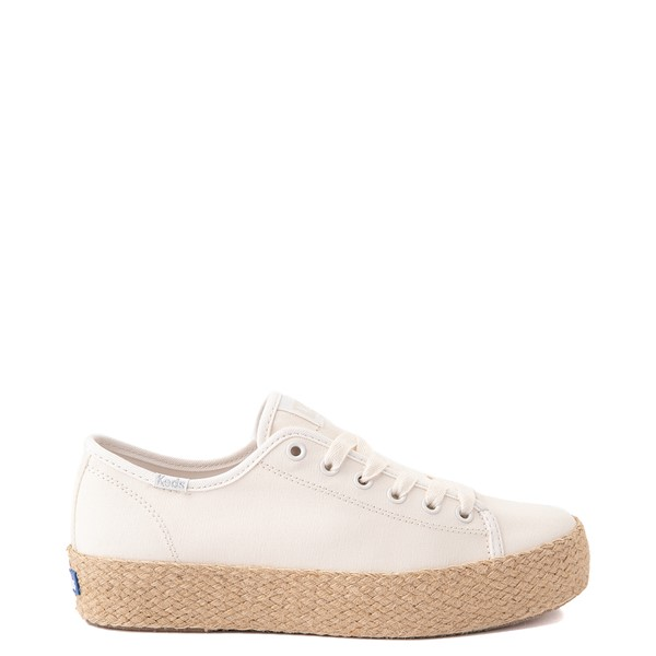 Main view of Womens Keds Triple Kick Jute Platform Casual Shoe - White