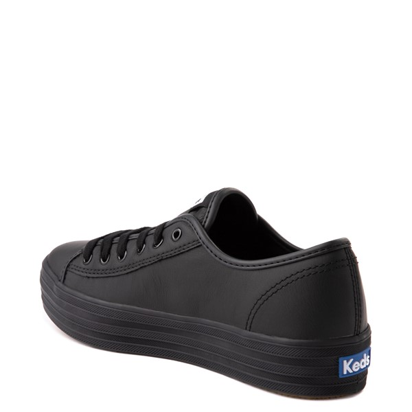 alternate view Womens Keds Triple Kick Leather Platform Casual Shoe - BlackALT1
