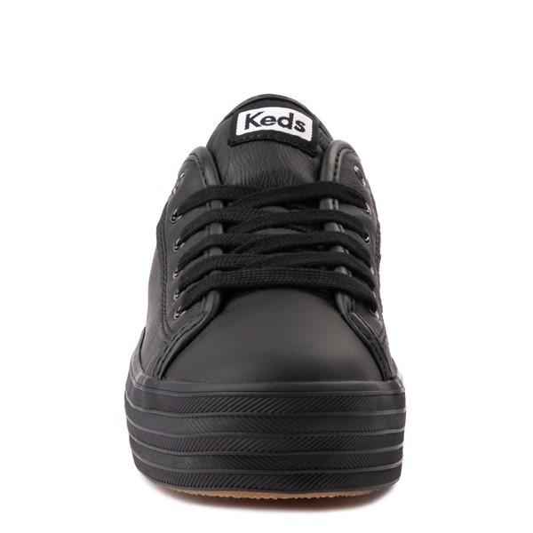 alternate view Womens Keds Triple Kick Leather Platform Casual Shoe - BlackALT4