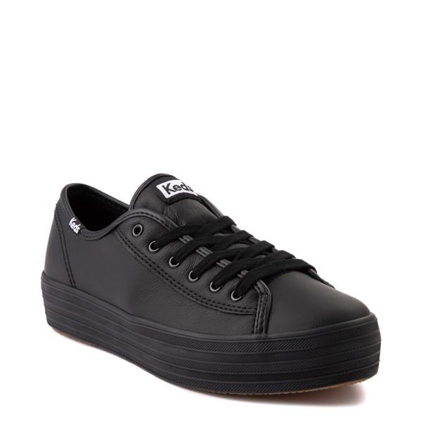 alternate view Womens Keds Triple Kick Leather Platform Casual Shoe - BlackALT5