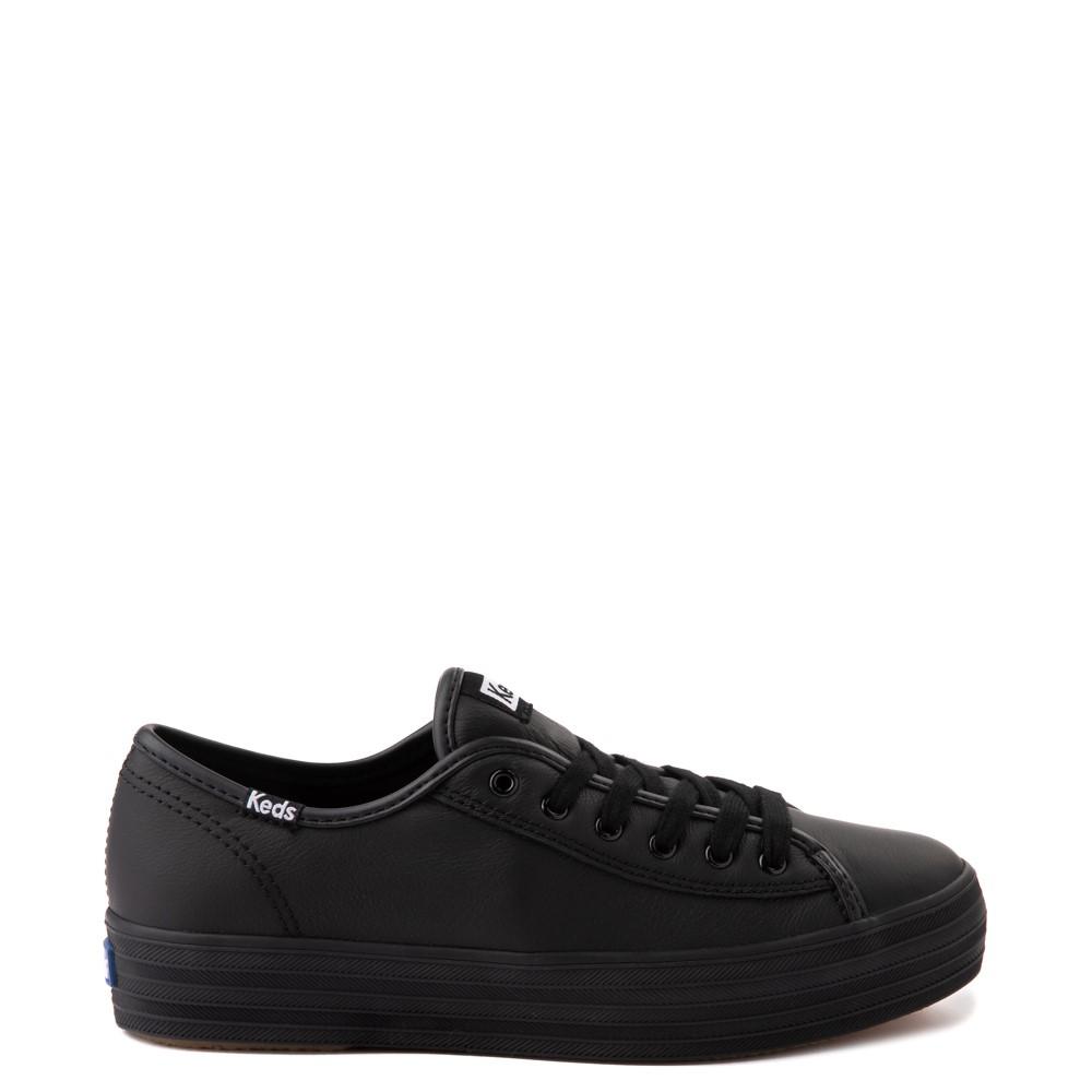 Womens Keds Triple Kick Leather Platform Casual Shoe - Black