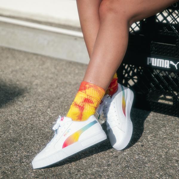 alternate view Womens Puma Cali Star Athletic Shoe - White / RainbowALT1B