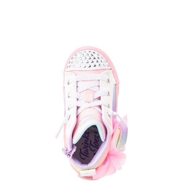 alternate view Skechers Twinkle Toes Shuffle Brights Rainbow Dust Sneaker - Little Kid - Pastel MulticolorALT2