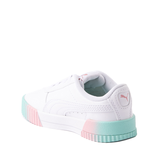 alternate view Puma Carina Athletic Shoe - Baby / Toddler - White / Pink / TurquoiseALT1