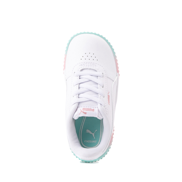 alternate view Puma Carina Athletic Shoe - Baby / Toddler - White / Pink / TurquoiseALT2