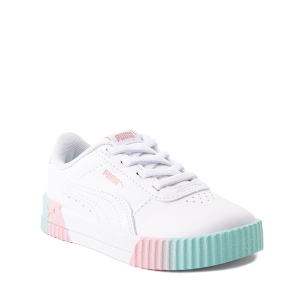 alternate view Puma Carina Athletic Shoe - Baby / Toddler - White / Pink / TurquoiseALT5