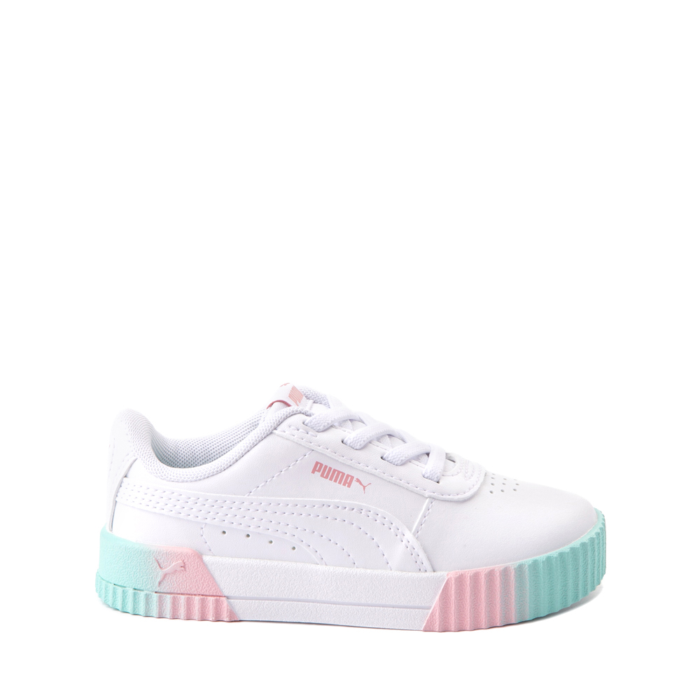 Puma Carina Athletic Shoe - Baby / Toddler - White / Pink / Turquoise