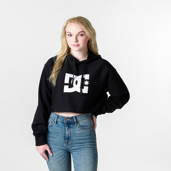 Main view of Womens DC Star Cropped Hoodie - Black