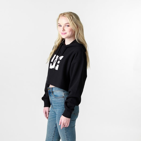 alternate view Womens DC Star Cropped Hoodie - BlackALT4