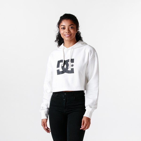 Main view of Womens DC Star Cropped Hoodie - White