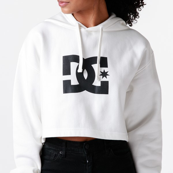 alternate view Womens DC Star Cropped Hoodie - WhiteALT2