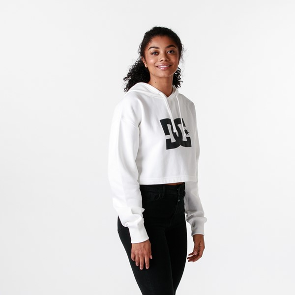 alternate view Womens DC Star Cropped Hoodie - WhiteALT3