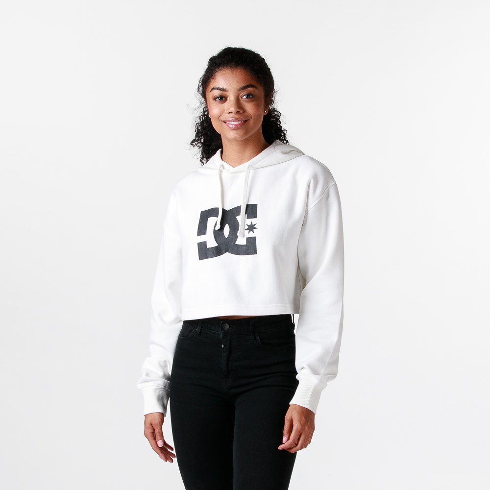 Womens DC Star Cropped Hoodie - White
