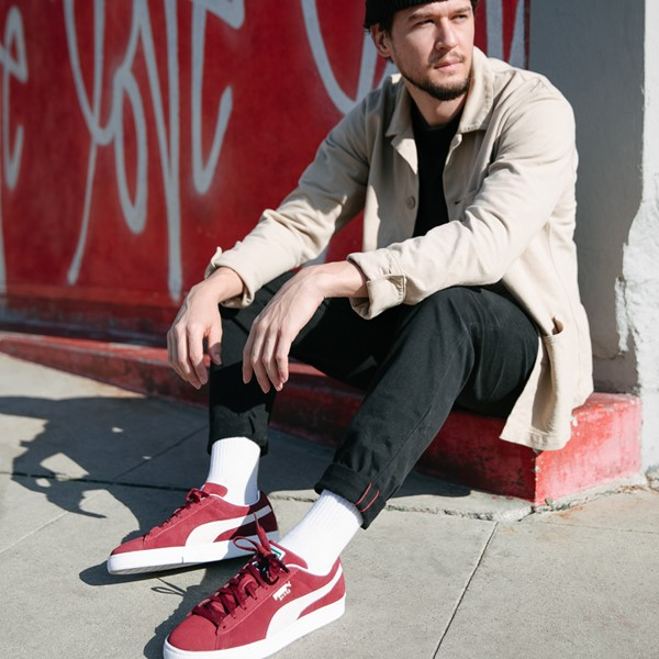 alternate view Mens Puma Suede Athletic Shoe - BurgundyALT1B