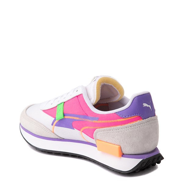 alternate view Womens Puma Future Rider Twofold Athletic Shoe - White / Purple / PinkALT1