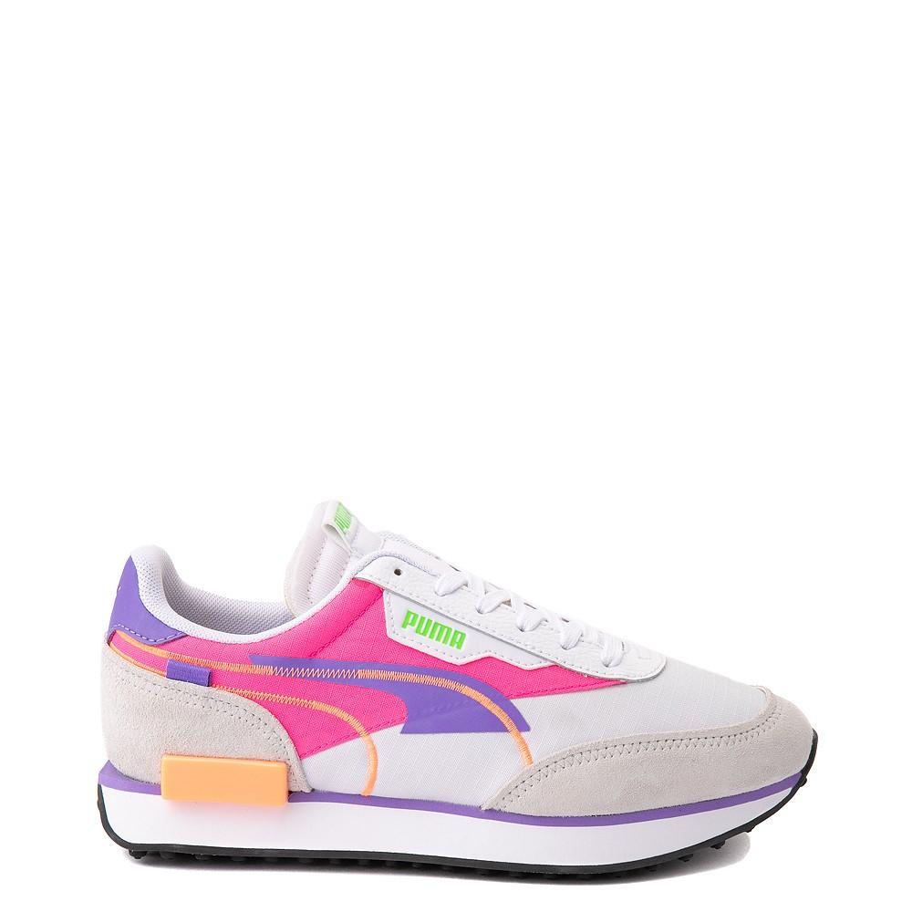 Womens Puma Future Rider Twofold Athletic Shoe - White / Purple / Pink