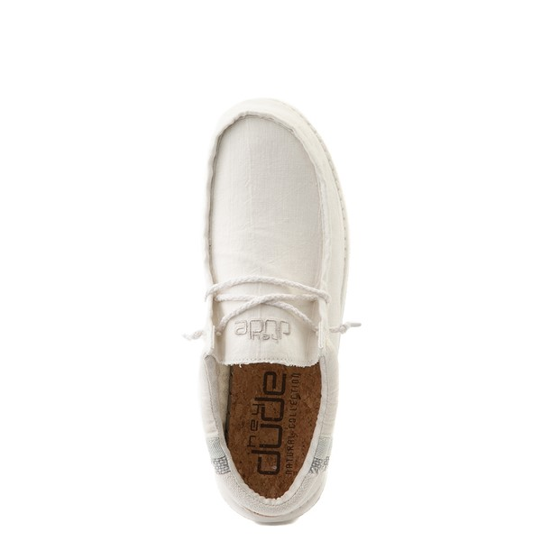 alternate view Mens Hey Dude Wally Casual Shoe - Natural WhiteALT4B