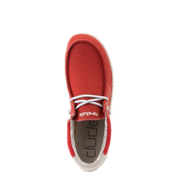 alternate view Mens Hey Dude Wally Casual Shoe - RedALT4B