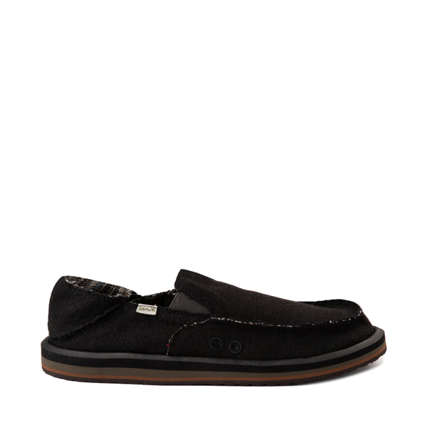 Mens Sanuk Vagabond Hemp Slip On Casual Shoe - Black