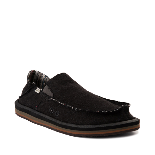 alternate view Mens Sanuk Vagabond Hemp Slip On Casual Shoe - BlackALT5