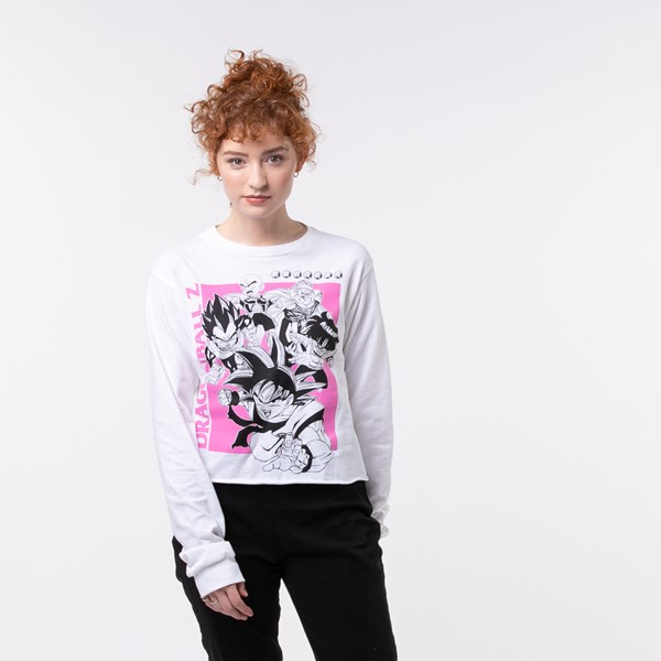 Main view of Womens Dragon Ball Z Cropped Long Sleeve Tee - White