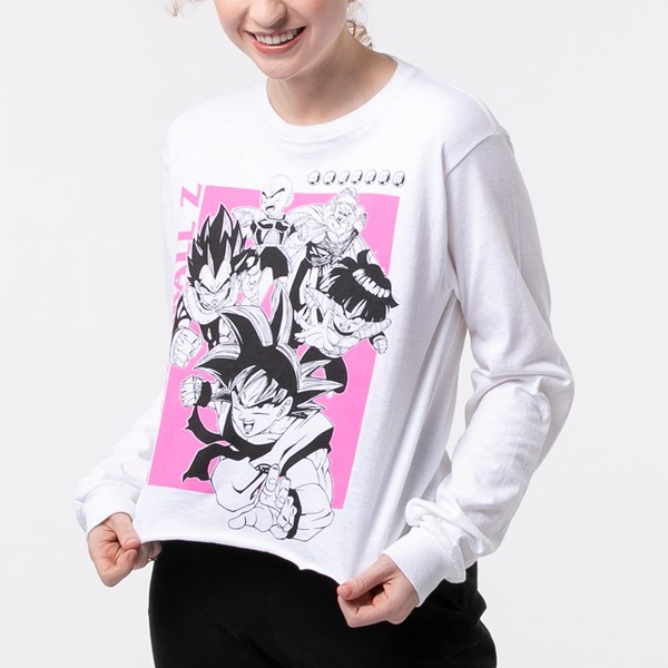 alternate view Womens Dragon Ball Z Cropped Long Sleeve Tee - WhiteALT1B