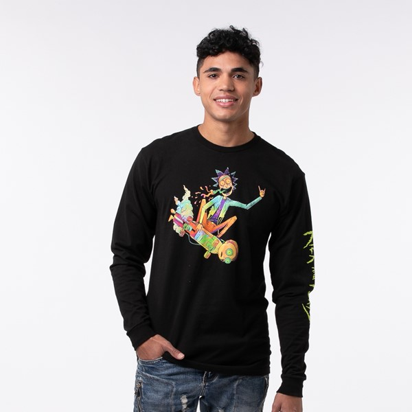 Main view of Mens Rick and Morty Psyched Long Sleeve Tee - Black
