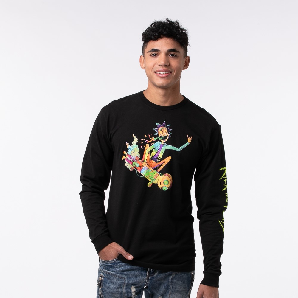 Mens Rick and Morty Psyched Long Sleeve Tee - Black