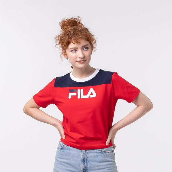 Womens Fila Mayka Cropped Tee - Red