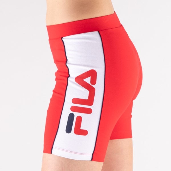 alternate view Womens Fila Trina High Waisted Bike Shorts - RedALT1