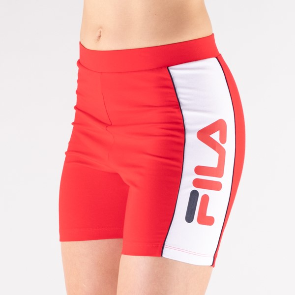 alternate view Womens Fila Trina High Waisted Bike Shorts - RedALT5