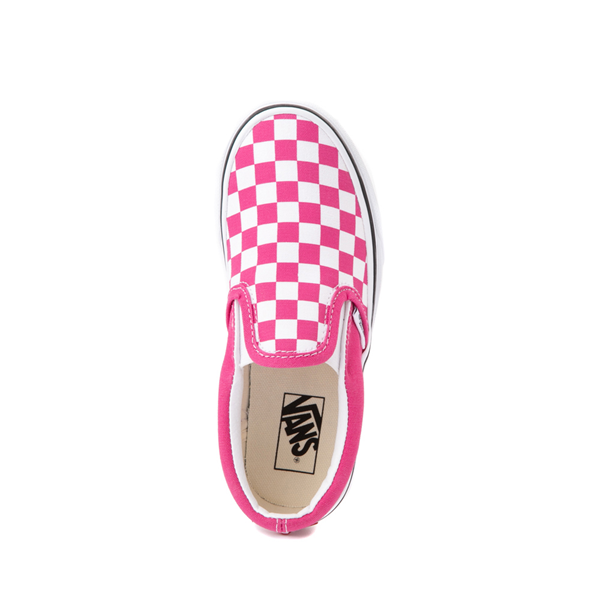 alternate view Vans Slip On Checkerboard Skate Shoe - Little Kid - FuchsiaALT2