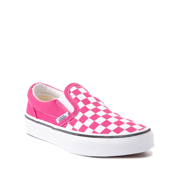 alternate view Vans Slip On Checkerboard Skate Shoe - Little Kid - FuchsiaALT5