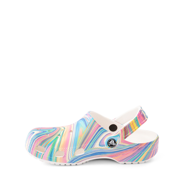 alternate view Crocs Classic Clog - Little Kid / Big Kid - White / Marbled Pastel MulticolorALT1