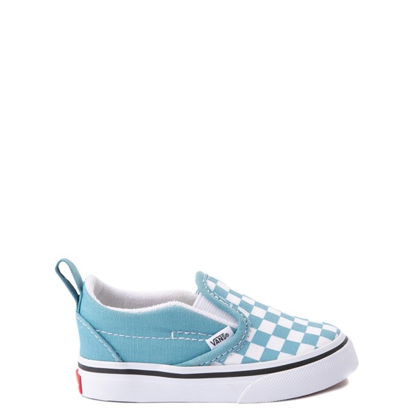 Vans Slip On V Checkerboard Skate Shoe - Baby / Toddler - Delphinium