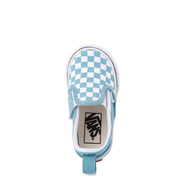 alternate view Vans Slip On V Checkerboard Skate Shoe - Baby / Toddler - DelphiniumALT2
