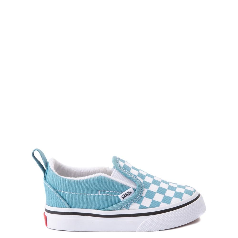 Vans Slip On V Checkerboard Skate Shoe - Baby / Toddler - Delphinium